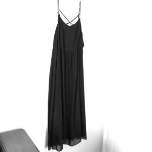 Modcloth black maxi dress with strappy front